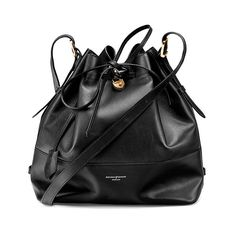 Aspinal of London Women's Padlock Large Duffle Bag - Black (€490) ❤ liked on Polyvore featuring bags, handbags, shoulder bags, zipper purse, duffel bags, slouch purse, slouch handbags and bucket bag