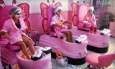 Kids' Mani-Pedi, Facial, and Makeup, or Spa Party for Up to 10 Girls at Mommy & Me Salon (Up to Off) Kids Nail Salon, Nail Salon Design, Nail Salon Decor, Beauty Salon Decor, Childrens Salon, Schönheitssalon Design, Girl Salon, Kids Spa Party, Beauty Studio