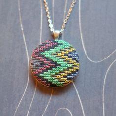 Zig Zag Cross Stitch Necklace/ Pendant by TheWerkShoppe on Etsy, $38.00