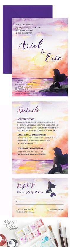 Ariel wedding invitations- disney watercolor art Disney Wedding Invitations, Watercolor Wedding Invitations, Wedding Invitation Suite, Watercolor Disney, Watercolor Artwork, Ariel, Dream Wedding, Tropical, Wedding Ideas