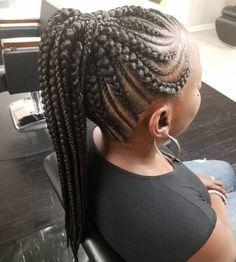 20 Totally Gorgeous Ghana Braids für eine komplizierte Frisur - Braided hairstyles # Braids with beads ponytail # latest ghana Braids # Braids with beads ponytail # Braids with beads how to Box Braids Hairstyles, Braided Ponytail Hairstyles, Braided Hairstyles For Black Women, Braids For Black Hair, Hairstyle Ideas, Goth Hairstyles, Teenage Hairstyles, Hairstyles 2018, Winter Hairstyles