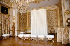 """The King's interior apartments - Palace of Versailles Not far from the great """"bedchamber of Louis XIV"""" as impractical as it was majestic, Louis XV had a new, smaller, south-facing room installed in 1738, which was easier to heat. He died there on 10 May 1774"""