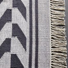 Steven Alan Arrow Border Cotton Kilim Rug - Feather Gray | West Elm