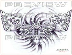 awesome aztec stone bat tattoo design