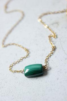 Malachite necklace,Malachite jewelry,Minimal necklace,dainty necklace gold,emerald green necklace,Geometric necklace,gemstone necklace by xuanqirabbit on Etsy