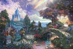 Photo of A New Day at the Cinderella Wishes Upon A Dream by Thomas Kinkade Disney Princess Bild, Disney Princess Paintings, Disney Paintings, Cinderella Disney, Thomas Kinkade Disney, Anne Geddes, Cute Disney, Disney Art, Bambi