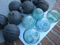 4 Japanese Glass Fishing Floats  Old Vintage by NauticalPlace, $13.99