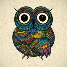 gufi civette: Illustrazione vettoriale di gufo. Uccello illustrato in tribal.Owl whith fiori su sfondo chiaro. Gufo sagomato e ornamentali.