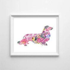 Long Haired Dachshund watercolor dog watercolor Dachshund