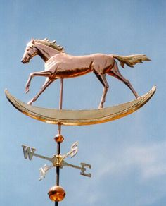 Rocking Horse Weather Vane by West Coast Weather Vanes.  If you would prefer a more traditional rocking horse, we would be happy to work with you on such a design.  This horse was made of copper and the mane, tail and rocker were made of brass.