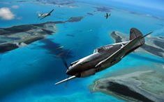 Download wallpapers Curtiss P-40 Warhawk, Mitsubishi A6M Zero, World War II, air combat, fighters, USA, Japan, WW2, P-40 vs Zero