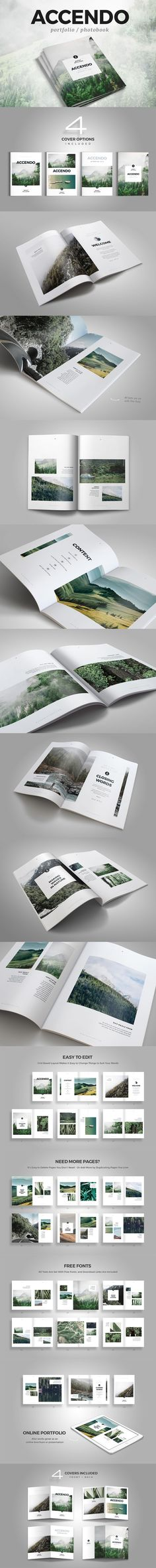 ACCENDO - Portfolio / Photobook / Brochure Template InDesign INDD - 40 Pages, A4 and US Letter Size