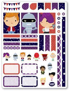 Futuro niño decoración Kit / extensión semanal planificador pegatinas para el papel de Erin Condren Planner, Filofax, ciruela