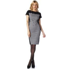 JESSICA®/MD Houndstooth Colour-Blocked Dress, Sears, $59.99. This dress does double duty as workwear and eveningwear. The on-trend houndstooth pattern plays well with the side ruching that helps create an hourglass figure. Polyester-rayon-spandex, unlined, black/white Semi-fitted: slightly fitted to follow your curves without being snug, falls to the knee Houndstooth front panel, solid black back Side ruching Short sleeves Keyhole button closure Machine wash