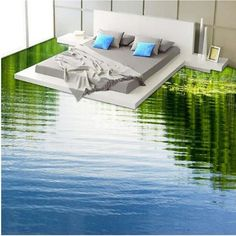 Wand Calm Limpid Lake Print Design Home Decorative Waterproof Splicing Floor Murals Parenting the 3d Floor Art, 3d Floor Painting, Floor Murals, Wallpaper Floor, Adhesive Wallpaper, Epoxy 3d, Floor Design, House Design, 3d Flooring