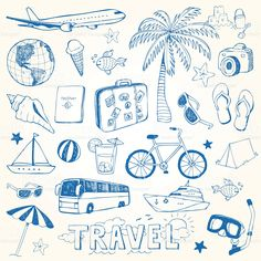 Hand drawn travel doodles vector illustration royalty-free stock vector art