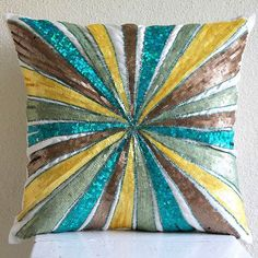 Decorative Pillow Covers Accent Pillow 16 Inch Silk Throw Pillow Cover Sequins Embroidered Merry-Go-Round Home Decor Housewares Handmade