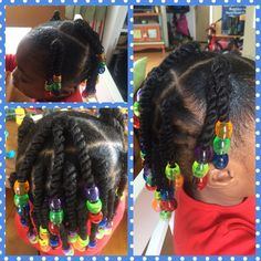 cool Twists and beads Natural hair Little girl Protective style...