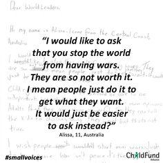 Alissa, 11, Australia #smallvoices #respect #childfund