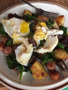 spinach potato scramble with applegate turkey hotdog and eggs over medium