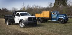 https://flic.kr/p/zMPZqw | 2016 Ram 5500 Chassis Reg Cab Tradesman 4x4 with dump bed upfit and 1947 Dodge Stake Bed Truck | 2016 RAM 5500 Chassis Cab Dump Truck (left) and 1940 Dodge 1 1/2-Ton pickup – 2016 Ram Heavy Hauler Media Program, Oct. 20, 2015, Chelsea (Mich.) Proving Grounds.