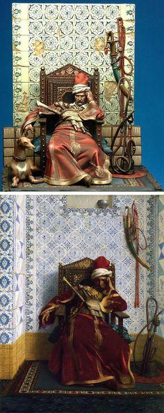 """Blooze: """"Markos Botsaris, el heroe de la Guerra de independencia griega, esculpido por Pablo Deleheanu y pintado por Danilo Cartacci. Figura de 75mm basada en el cuadro de Jean-Leon Gerome (1874)."""""""