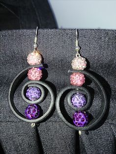 Shamballa beads and leather earrings.