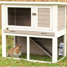 Best as an indoor hutch since bunnies love to dig....Trixie 2-Story Sloped Roof Rabbit Hutch | Hutches | PetSmart