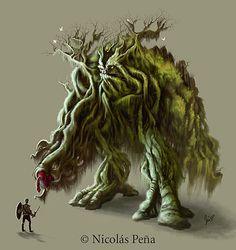 Earth Elemental monsters against man