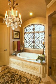 If you are having difficulty making a decision about a home decorating theme, tuscan style is a great home decorating idea. Many homeowners are attracted to the tuscan style because it combines sub… Bathroom Window Decor, Tuscan Bathroom Decor, Bathroom Windows, Bathroom Ideas, Bathroom Interior, Bathroom Chandelier, Bathroom Tubs, Shower Ideas, Bathroom Renovations