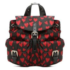 REDValentino Backpack In Heart Print ($575) ❤ liked on Polyvore featuring bags, backpacks, black, day pack backpack, star backpack, patterned backpacks, real leather backpack and leather backpack