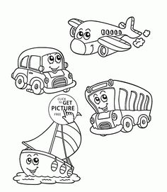 Funny Transportation coloring page for kids, coloring pages printables free - Wuppsy.com