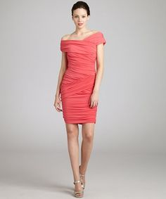 Nicole Miller watermelon stretch butterfly ruched dress | BLUEFLY up to 70% off designer brands at bluefly.com