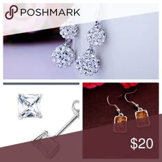 💕 All three pairs of earrings, zirconia, Amber One pair is Cubic zirconia sterling silver the other pair is silverplated drop earrings and the last one is sterling silver amber stone earrings, all three pairs one price, price is firm Jewelry Earrings