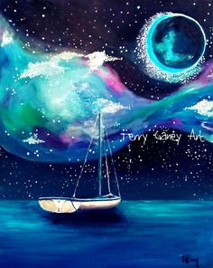 Adrift Reproduced Print of Original Painting by TerryGaneyArt Original Artwork, Original Paintings, Galaxy Art, Any Images, Hanging Art, Ethereal, Color Pop, Fantasy Art, My Arts