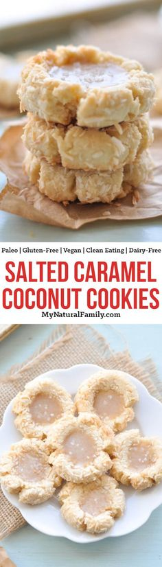 These Paleo coconut cookies only have 5 ingredients for the base and then are filled with a simple salted caramel sauce. {Gluten-Free, Clean Eating, Dairy-Free, Vegan}