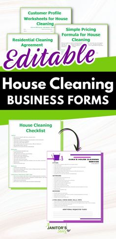 Easy to edit digital, professional housekeeping business forms. Add your logo, change the style to suit your residential maid cleaning company. Forms include a cleaning checklist, cleaning agreement/ contract, cleaning supplies list, pricing template, and so much more. Digital download PDF, MS Word Doc, and Canva template. INSTANT ACCESS. #ajanitorsstory Building Cleaning Services, Maid Cleaning Service, Naming Your Business, House Cleaning Checklist, Professional Cleaning Services, Checklist Template, Business Articles, Cleaning Business, Word Doc