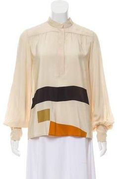 Tan and multicolor Etro silk top with button-accents at front and long sleeves. Silk Top, Cover Up, Long Sleeve, Sleeves, Clothes, Tops, Dresses, Women, Fashion