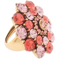 OSCAR DE LA RENTA Jeweled Floral Ring (£93) ❤ liked on Polyvore featuring jewelry, rings, accessories, jewels jewelry, floral jewelry, floral ring, oscar de la renta jewelry and pink jewelry