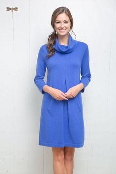 Tyler Böe Kim Cowl Dress - Corsican Blue Cotton Cashmere by Tyler Boe from THE LUCKY KNOT