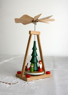 Vintage German Pyramid Christmas tree Santa elf home decor 1980s red green wooden