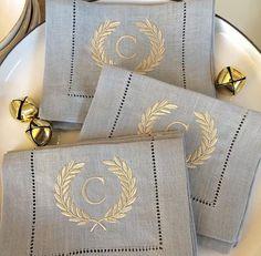 Monogrammed napkins, laurel wreath embroidered linen, monogram color combo, blue linen French,