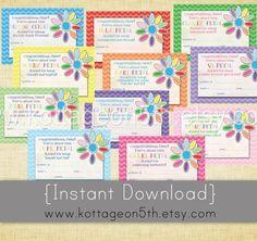 daisy petal certificate  | - 4x6 - Instant Download Girl Scout Daisy Petal Award Certificates ...