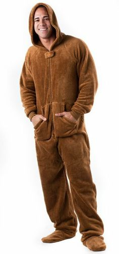 652f8b6f3 Footed #Pajamas Teddy Bear Adult Hoodie One Piece Mens Footed Pajamas,  Pajamas Women,