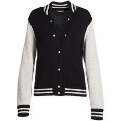 Marc Jacobs Colorblock Knit Varsity Jacket ($630) ❤ liked on Polyvore featuring outerwear, jackets, color block jacket, black and white jacket, oversized jacket, snap front jacket and straight jacket