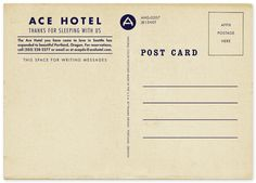 Ace Hotel / Print Ephemera: Postcards, Posters, Invitations / The Official Manufacturing Company