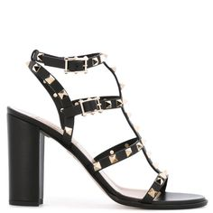 Valentino Garavani 'Rockstud' sandals ($1,135) ❤ liked on Polyvore featuring shoes, sandals, black, black leather sandals, valentino shoes, ankle strap sandals, embellished sandals and valentino sandals
