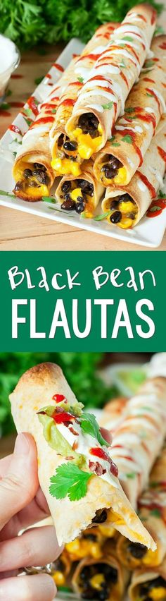 Seasoned black beans and corn rolled in a flour tortilla, smothered in cheese, and baked to crispy perfection!