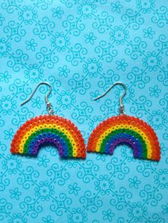 Mini Hama Bead 8 Bit Pixel Rainbow Earrings by robbiesgirlshop