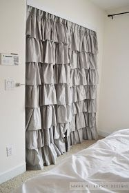 Drapery Panels for Closet Doors. hang from inside! I love these for curtains in the office, only in natural burlap! - Fox Home Design Curtains For Closet Doors, Bedroom Closet Doors, Bedroom Curtains, Bathroom Closet, Curtain Closet, Bathroom Storage, Bathroom Laundry, Master Closet, Bathroom Flooring